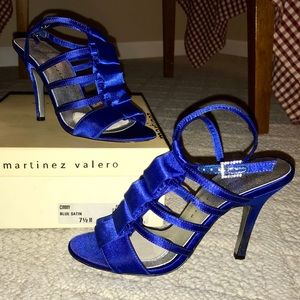 Martinez Valero Royal Blue Satin Heels